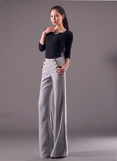 Korea line fabric big horn leg women's flare jeans bell bottoms pants