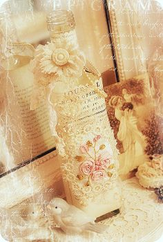 altered bottle <3 Shabby Chic Cottage Pink Roses