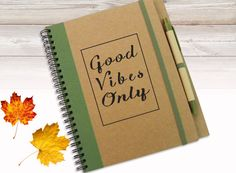 Personalized JournalNotebook with Quote Good Vibes von LooveMyArt