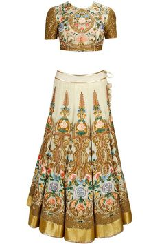 A baroque inspired lehenga and crop top by designer Samant Chauhan for an engagement party. Shop for your dream wedding wardrobe with our personal wedding shopper, visit www.bridelan.com #Bridelan