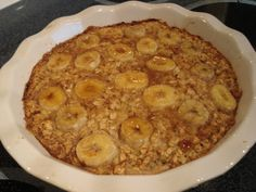 Baked Banana Oatmeal Makes 4 portions about 275 cal, 6 grams fiber and 11 grams protein each.