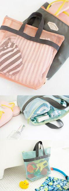 Love this adorable mesh bag as a beach or pool bag!