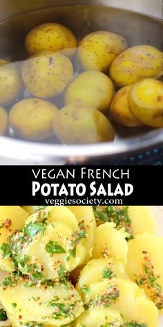 A simple vegan French potato salad recipe made with a tangy, grainy Dijon mustard vinaigrette and fragrant fresh herbs. Chicken Pasta Salad Recipes, Easy Pasta Salad Recipe, Spinach Salad Recipes, Asparagus Recipe, Healthy Salad Recipes, Veggie Recipes, Whole Food Recipes, Vegetarian Recipes, French Salad Recipes