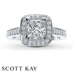 princess cut!!!! love this ring!! hint hint hint hint CJ!!!!...Jared - Diamond Ring Setting 1/3 ct tw Round-cut 14K White Gold