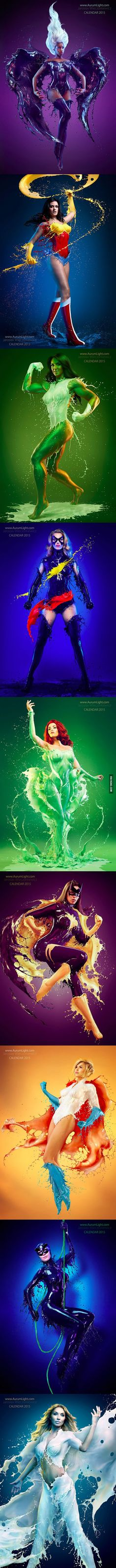 Superheroines with liquid versions of their suits - but how?