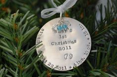 Hand Stamped Christmas Holiday Ornament Silver Baby first   Hand Stamped Jewelry - Stamped Jewelry - Something About Silver