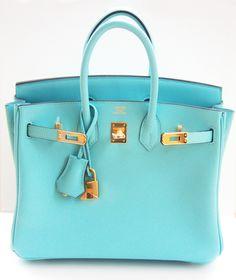 Hermes Birkin Bag 25cm Blue Atoll Lagoon Gold | MALLERIES
