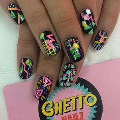 Rewind time, and channel the with some neon print nail art. - Rewind time, and channel the with some neon print nail art. Rewind time, and channel the with some neon print nail art. Nail Art Long, Neon Nail Art, Neon Nails, Funky Nails, Cute Nails, Pretty Nails, Neon Nail Designs, Best Nail Art Designs, Nails Design