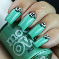 (via Lucy's Stash: Elegant half-moon nail art manicure with Models Own Jade Stone)