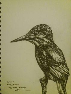 Fine liner king Fisher original black ink on A4 paper.