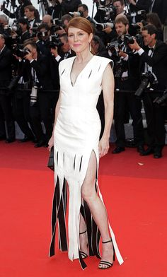 Julianne Moore looked sleek in a white Louis Vuitton gown with her hair pulled back.