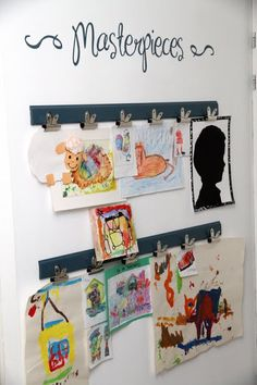 Children art on the wall Our masterpieces and #Uppercase Living to help with the Heading! #children's art work  #home decor