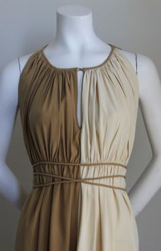 CLAIRE MCCARDELL attributed pleated Grecian style dress | From a collection of rare vintage evening dresses at https://www.1stdibs.com/fashion/clothing/evening-dresses/