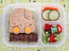 EasyLunchboxes Preschool Lunch - car sandwich, organic Z bar, carrots & cucumbers, fruit salad. Healthy Meals For Kids, Meals For One, Kids Meals, Healthy Recipes, Healthy Food, Girls Lunch Boxes, Easy Lunch Boxes, Box Lunches, Back To School Lunch Ideas