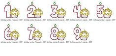 Birthday Number 1 thru 9 with Cupcake applique design in digital format for embroidery machine by Applique Corner