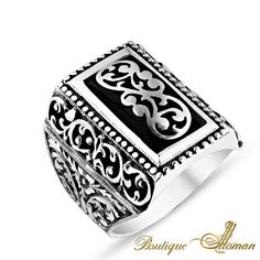 Hand Made Silver Man Ring Silver Rectangle Ivy #jewellery #silver #oriental #fashion #jewelry #manring #manjewelry #ring #man #ottoman #hurrem #authentic #vintage #luxury