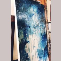 Extra large blue abstract painting, modern acrylic art, original abstract art, texture painting Abstract Painting Techniques, Abstract Canvas Art, Diy Canvas Art, Abstract Portrait, Abstract Art Blue, Abstract Art Paintings, Acrilic Paintings, Gold Canvas, Modern Oil Painting