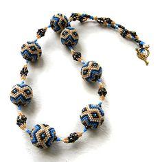 Ethnic style beaded necklace  beaded beads от Anabel27shop на Etsy