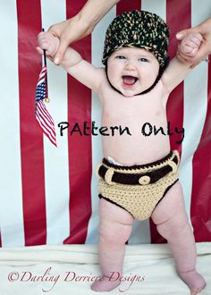 Army Baby Helmet and Khaki Diaper Cover Crochet by DarlingDerriere