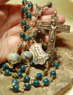 Beautiful rosary with Apatite crystals!