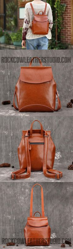 Vintage Leather College Backpack, Shoulder Bag, Fashion Handbags For Women 9212