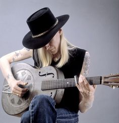 Johnny Winter and classic National resonator