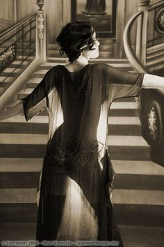 This spectacular sheer dress is from the late 1920s. It is a great dress for boudoir photos, and unlike most of the Victorian clothing, this one fits a variety of sizes. Wear it with the period underwear, or if you want to be scandalous, wear it without as this flapper did.