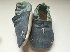 anchor print baby shoes nautical baby shoes by SewAdorableandCute