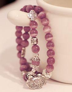 Handmade Two Wrapped Cat Eye Beads Bracelets  | PandaHall Beads Jewelry Blog