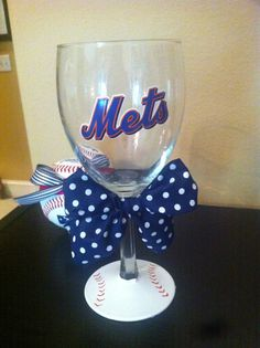 Mets wine glass! Perfect for the season! $15 http://www.etsy.com/listing/96681405/mets-wine-glass