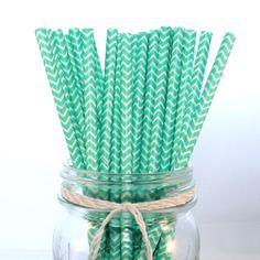 Sea Foam Green Chevron Paper Straws 50 by ThePrettyPartyShoppe, $8.00 green chevron, sea foam, chevron paper, tropical beaches, foam green, paper straws, babi shower, bridal showers, baby showers