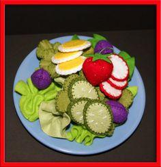 Felt Salad Waldorf Inspired Kitchen or Market Place by EvaLauryn