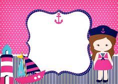 Imágenes NIña Marinerita Marcos para Fotos Invitaciones Tarjetas Etiquetas… Sailor Party, Sailor Theme, Baby Shower Invitaciones, School Labels, Birthday Background, Barbie Party, Nautical Party, Printable Invitations, Printables