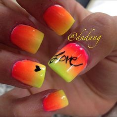 Top 10 Summer Nails For This Season--When we see this nail design we always think about the most beautiful summer sunset on the beach. Till the day you go on vacation, make these cheerful two coloured nails and decorate them with some word or other applic Neon Nails, Love Nails, Diy Nails, Pretty Nails, Bright Nails, Color Nails, Yellow Nails, Bright Summer Nails, Gradient Nails