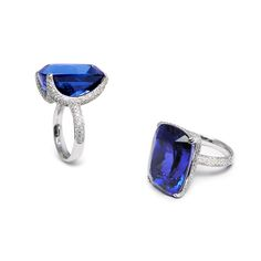 Fei Liu 20ct dark blue tanzanite ring, set in white gold with pavé set diamonds on the claw and shank.