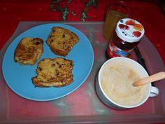 pain surprise: broche pépite de chocolat, oeufs,lait,sucre vanille, cannelle, beurre.