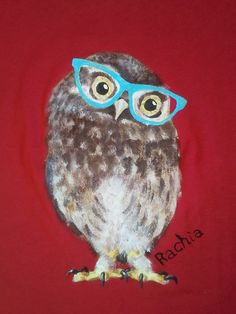 Hand painted t-shirt Owl With Glasses