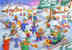 www.thehouseofpuzzles.com gallery The_Furry_Friends_Collection backup-large Fun%20in%20the%20Snow.jpg