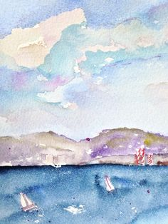 Santa Monica Bay - Original Watercolor Art, 5 by 7 inches matted to 8 by 10 inches - Paintings NOT Prints. I painted this starting with a sketch I made on Sunday January 15, 2017. All paintings are original, are painted by me and are ready to ship. They are painted with artist watercolor paints on heavy 100% watercolor paper. Copyright © Pamela Gorecki.