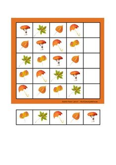 Board and tiles for the sudoku. Laminate and cut out the board and tiles. add hook and loop tape and the sudoku is ready. By Autismespektrum Autumn Activities For Kids, Fall Preschool, Preschool Education, Preschool Learning Activities, Kids Learning, Teacher Binder Organization, Teacher Planner, Shapes Flashcards, Preschool Boards