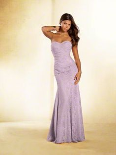 Alfred Angelo Style 536: strapless floor length long lace bridesmaid with sweetheart neckline