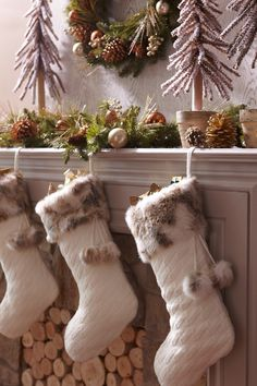 Keep your mantel warm and cozy with a Knit & faux fur Stocking from Pier 1