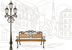 line drawing of Paris, a bench and a lantern royalty-free stock vector art