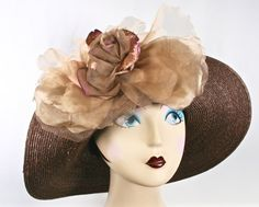 Dark Brown Kentucky Derby Hat Brown Womens by MakowskyMillinery