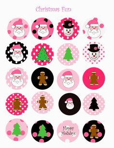 Santa Cute Free Printable Tags and Labels in Different Styles. Bottle Cap Jewelry, Bottle Cap Art, Bottle Cap Images, Free Printable Tags, Printable Stickers, Planner Stickers, Printable Designs, Bottle Cap Projects, Bottle Cap Crafts