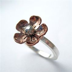 Forget Me Not Copper & Sterling Silver Ring by Relique Jewellery
