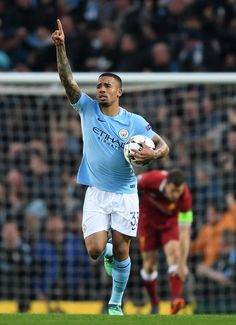 Gabriel Jesus of Manchescter City celebrates after scoring his sides first goal during the UEFA Champions League Quarter Final Second Leg match between Manchester City and Liverpool at Etihad Stadium on April 2018 in Manchester, England. Gabriel, Zen, Jesus Photo, Football Icon, Manchester City, Manchester England, Soccer Stars, Premier League Matches, Uefa Champions League
