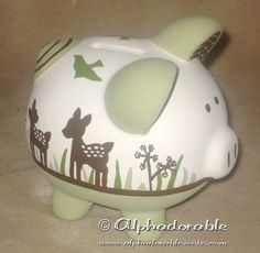 """Custom, hand painted ceramic personalized piggy bank Kidsline Willow design small 5"""". $35.00, via Etsy."""