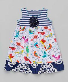 Another great find on #zulily! Navy Bird Ruffle Dress - Toddler & Girls #zulilyfinds