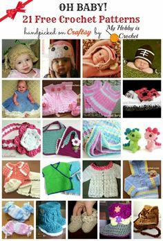 21 Free Crochet Baby Patterns roundup: http://www.myhobbyiscrochet.com/2015/01/21-free-crochet-baby-patterns.html ✿⊱╮Teresa Restegui http://www.pinterest.com/teretegui/✿⊱╮